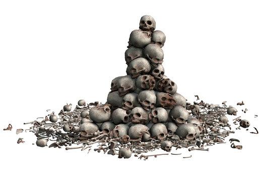 3D Skulls stacked and bone fragments illustration