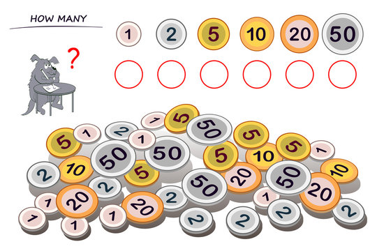 Logic puzzle game for children and adults. Help the dog count quantity of each coin and write numbers in circles. Kids math education. Developing counting skills. Printable worksheet for textbook.