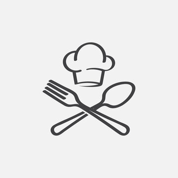 chef logo design, fork and spoon logo, food icon, restaurant label icon, Cooking symbol, Cooks hat with fork and spoon