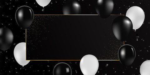Vector realistic balloons black and white colors. Party invitation template, concept. Gold line black frame vector background. Fototapete