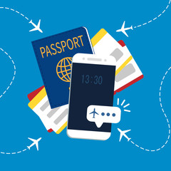 Vector illustration of passport with tickets. Holiday and vacation concept.