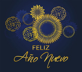 Happy New Year in Spanish. Feliz Ano Nuevo with fireworks greeting background vector.
