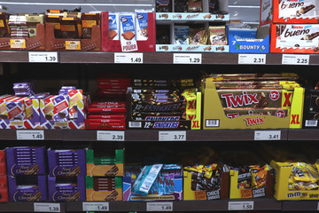 IJmuiden, the Netherlands, July 4th 2018: chocolates and candy bars in a supermarket