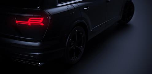 Back of the modern black car on dark background with rear lights on (3D Illustration)