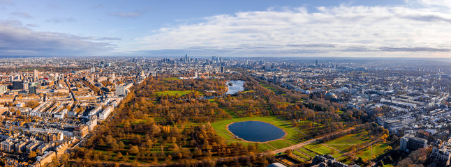 Wall Mural - Beautiful aerial panoramic view of the Hyde park in London, United Kingdom.