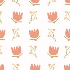1970s Retro Daisy Blossom Motif Background. Naive Babys Breath Flower Seamless Pattern. Coral on White. Delicate Bloom Hand Drawn Textile. Bold Spring Tulip Vintage Repeat Illustration. Vector EPS 1