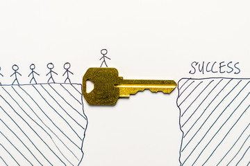 Group of tiny people walking through a golden key to success