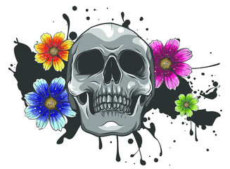 Poster Watercolor Skull Skull and Flowers Day of The Dead, Vintage Vector illustration