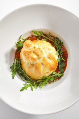 Baked Burrata Cheese with Tomato Sauce and Fresh Arugula Leaves
