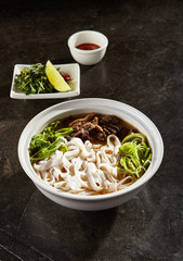 Vietnamese soup pho bo closeup