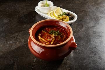 Solyanka soup close up