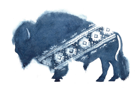 Watercolor realistic bison silhouette and national ornament in blue colors on white background