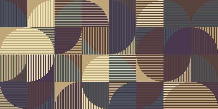 Abstract seamless pattern, geometry shapes in brown and purple  tones