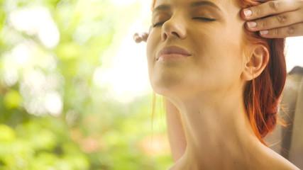 Foto auf Acrylglas Gelb Schwefelsäure Beautiful caucasian woman getting head massage at spa.