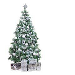 Big beautiful Christmas tree decorated with silver ornaments