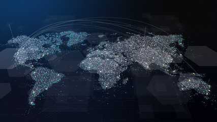 Wall Mural - Futuristic global 5G worldwide communication via broadband internet connections between cities around the world with matrix particles continent map for head up display background