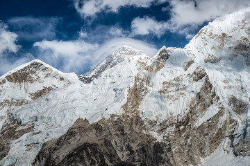 Mount Everest (Centre peak in the picture) the highest mountains in the world view from Kala Patthar.