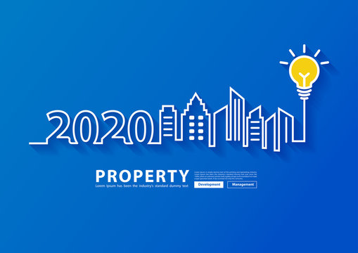 2020 new year city skyline line art creative light buld ideas design, With property management development concept, Vector illustration modern page cover layout template