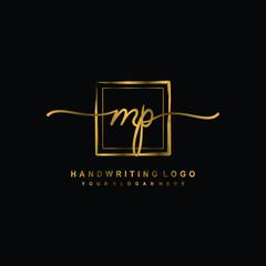 Initial M P handwriting logo design, with brush box lines gold color. handwritten logo for fashion, team, wedding, luxury logo.