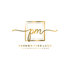 Initial P M handwriting logo design, with brush box lines gold color. handwritten logo for fashion, team, wedding, luxury logo.