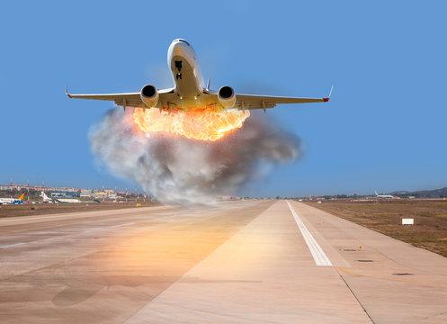 Airplain crashes at the runway- plain fire.