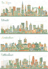 Set with Four Netherlands City Skyline.