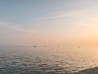 Sunset in the Adriatic Sea near Trieste, Italy.