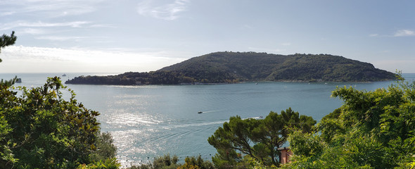 Beautiful panoramic view of the bay of poets and the island of Palmaria, Liguria, Italy.