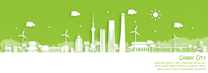Fototapete - Green city of Shanghai, China. Environment and ecology concept. Vector illustration.