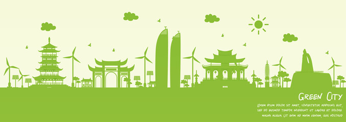 Fototapete - Green city of Xiamen, China. Environment and ecology concept. Vector illustration.