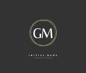 G M GM Beauty vector initial logo, handwriting logo of initial signature, wedding, fashion, jewerly, boutique, floral and botanical with creative template for any company or business.