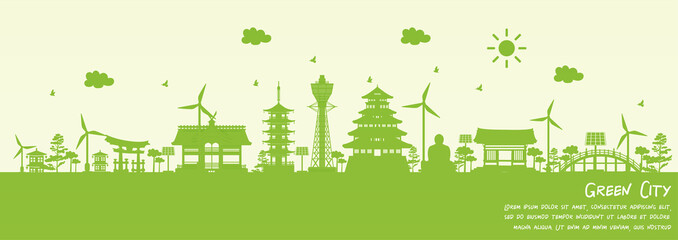 Fototapete - Green city of Osaka, Japan. Environment and ecology concept. Vector illustration.