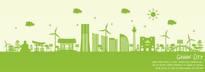 Fototapete - Green city of Yokohama, Japan. Environment and ecology concept. Vector illustration.