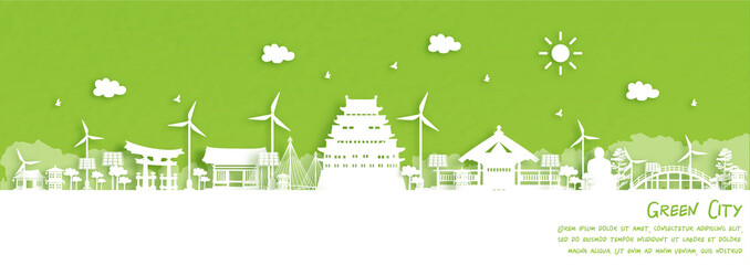 Fototapete - Green city of Nagoya, Japan. Environment and ecology concept. Vector illustration.