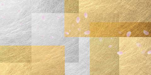 Wall Mural - 舞い散る桜と金色の和紙の背景