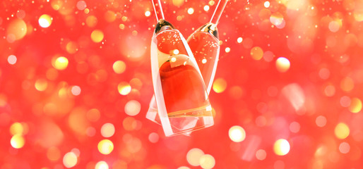 Creative card with champagne flutes cheers upside down on red light bokeh background banner