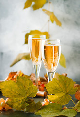 Champagne, brut or sparkling wine in glass on gray background. Autumn still life, wine tasting table setting concept