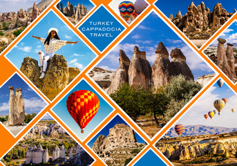Printed kitchen splashbacks Australia Cappadocia collage. Flying air ballons, Love and Rose valley, Fairy Chimneys, Pashabag.