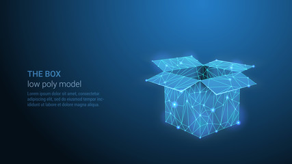 THE BOX - Abstract Low Poly Open Box in Trendy Style Design. Abstract Geometric Background. Wireframe Light Connection Structure. Modern 3D Neural Network or Artificial Intelligence Concept.