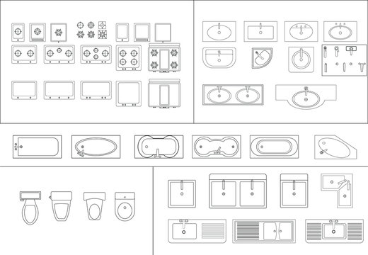 vector icon set of bathroom. toilet, sink,wastafel stove. floor plan