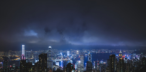 Photo sur Aluminium Hong-Kong Night Hong Kong view from the Victoria peak hill.