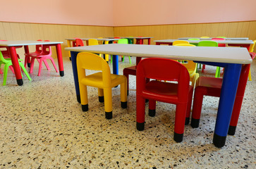 Room of the school with little chairs and tables