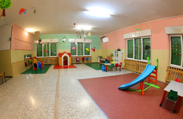 wide playground of a kindergarten without people