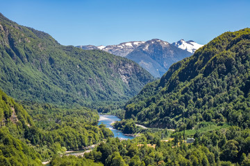 Landscape of river Cisnes valley with beautiful mountains view, Patagonia, Chile, South America