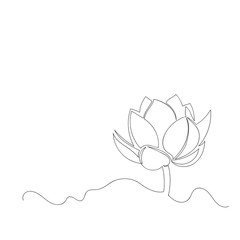 vector image of Lotus flower. contour drawing. continuous line. one line