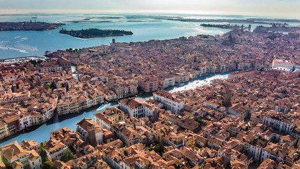 Venice city Grand Canal and houses aerial drone view, Venice island cityscape and Venetian lagoon from above, Italy