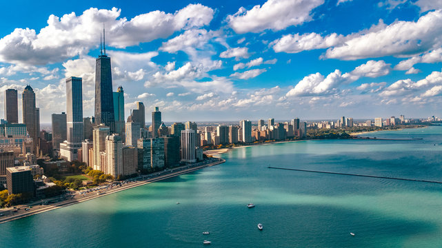 Chicago skyline aerial drone view from above, city of Chicago downtown skyscrapers and lake Michigan cityscape, Illinois, USA