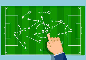 Game strategy on the soccer field. Football scheme