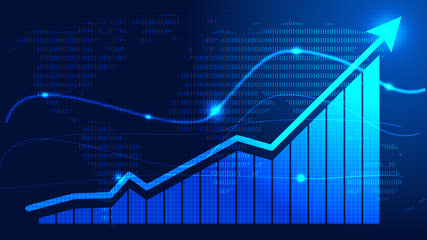 Financial stock market chart technical abstract background Fototapete