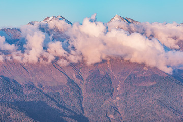 Caucasus mountains at sunset time. Sochi. Russia.